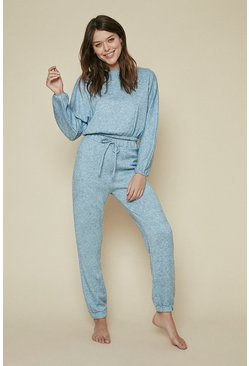 Blue Supersoft Seam Detail Loungewear Set
