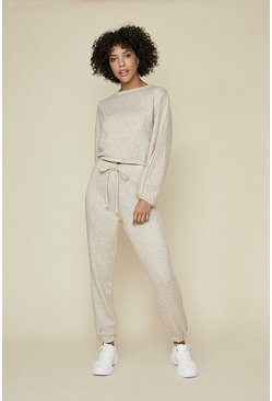 Oatmeal Supersoft Seam Detail Loungewear Set