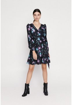 Black Floral Wrap Skater Dress