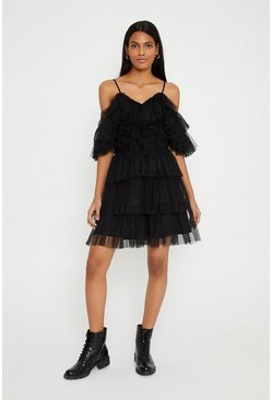 Black Tulle Bardot Tiered Dress