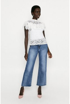 Cream Lace Top With Frill