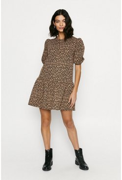 Animal Jacquard Drop Waist Dress