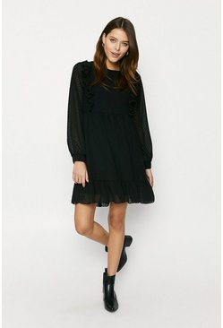 Black Textured Frill Dress