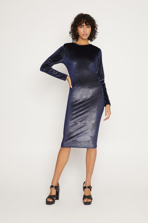Open Back Velvet Midi Dress Oasis