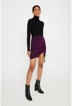 Pink Ruched Animal Glitter Mini Skirt