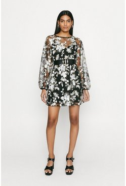 Black Floral Sequin Skater Dress