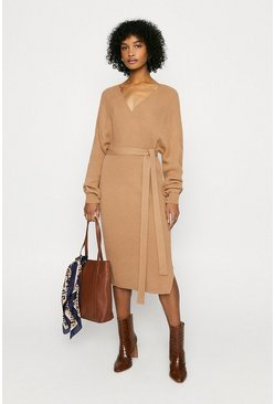 Camel Long Wrapped Belted Knitted Dress