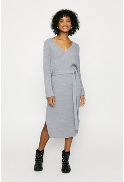 Grey Long Wrapped Belted Knitted Dress