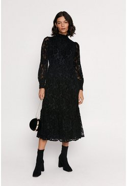 Black Velvet Lace Midi Dress