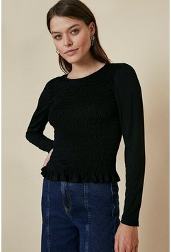 Black Shirred Long Sleeve Top