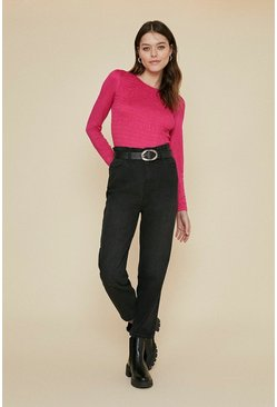 Pink Shirred Long Sleeve Top