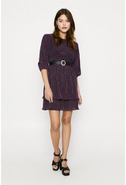 Purple Rainbow Glitter Tiered Skater Dress