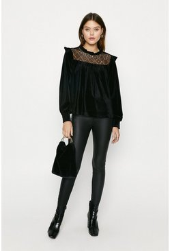 Black Velvet Lace Yoke Blouse