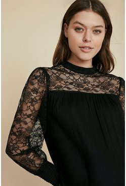 Black Lace Yoke And Sleeve Top