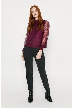 Wine Lace Gathered Yoke Blouse