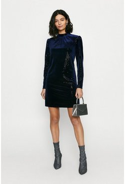 Navy Velvet Sequin High Neck Dress