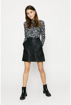 Leopard Printed Cosy Funnel Neck Top