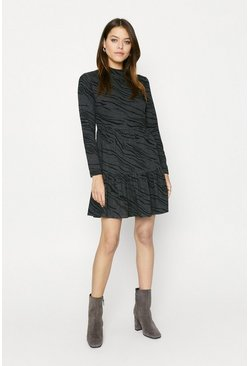 Zebra Printed Cosy Smock Dress