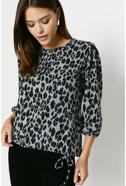 Leopard Printed Cosy Drawstring Top