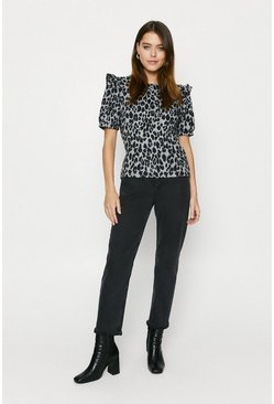 Leopard Printed Cosy Frill Top