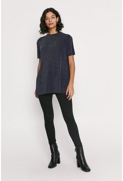Navy Metallic Split Side T Shirt