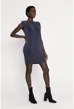 Navy Metallic Shoulder Pad Shift Dress
