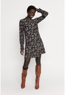 Multi Paisley Print Smock Dress