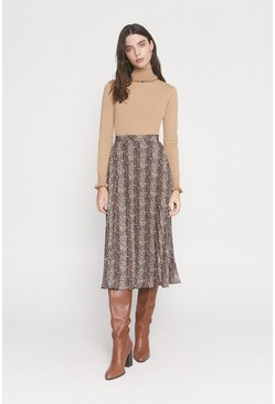 Brown Animal Pleated Midi Skirt