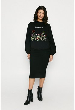 Black Wanderlust Embroidered Balloon Sleeve Sweat