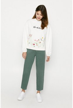 Cream Wanderlust Embroidered Balloon Sleeve Sweat