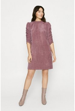 Pink Cord Gathered Sleeve Shift Dress