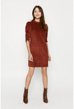 Rust Cord Gathered Sleeve Shift Dress