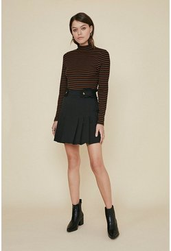 Black Frill Tab Mini Skirt