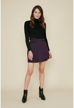 Purple Frill Tab Mini Skirt
