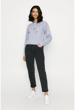 Grey Wild And Wonderful Embroidered Sweat