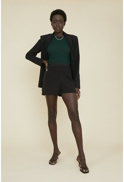Black Satin Detail Tailored Short