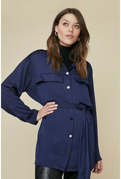 Navy Satin Longline Belted Shacket