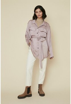 Taupe Satin Longline Belted Shacket