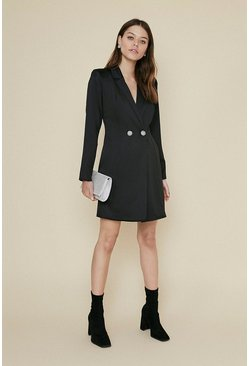 Black Satin Diamante Button Blazer Dress