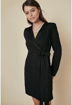 Black Satin Tie Side Blazer Dress
