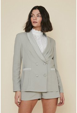 Sage Satin Detail Tailored Jacket