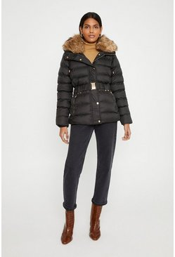 Black Padded Faux Fur Trim Coat