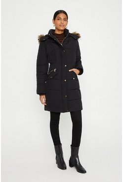 Black Padded Zip Detail Longline Coat