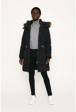 Navy Padded Zip Detail Longline Coat