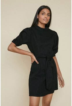 Black Puff Sleeve Belted Dress