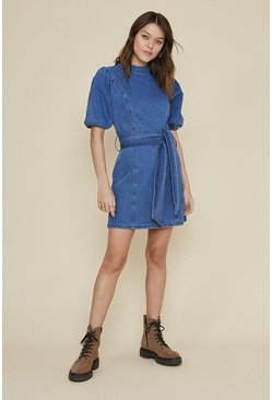 Mid wash Puff Sleeve Belted Dress