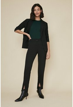 Black Split Front Slim Trouser