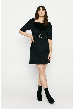 Black Velvet Shift Dress with Diamante Buckle