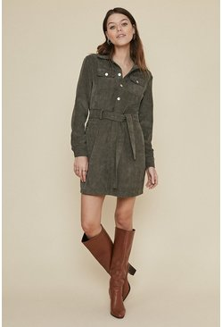 Khaki Belted Cord Shift Dress