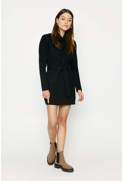 Black Belted Denim Shift Dress